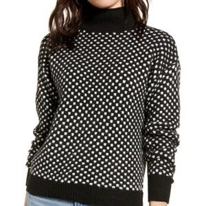BP Black White Check Long Sleeve Mock Neck Sweater